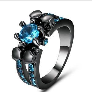 Jewelry - Aquamarine 10KT Black Gold Filled  Ring Size 7